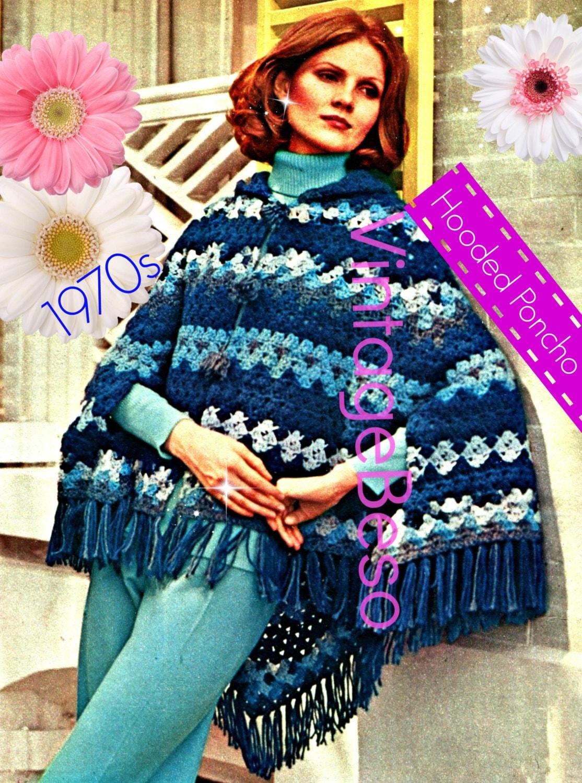 Hooded Poncho Crochet Pattern 1970s Vintage Crochet Shawl