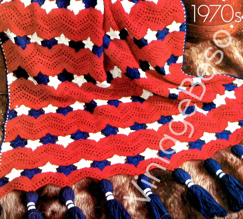 Americana Afghan Crochet Pattern Instant Download Pdf Vintage