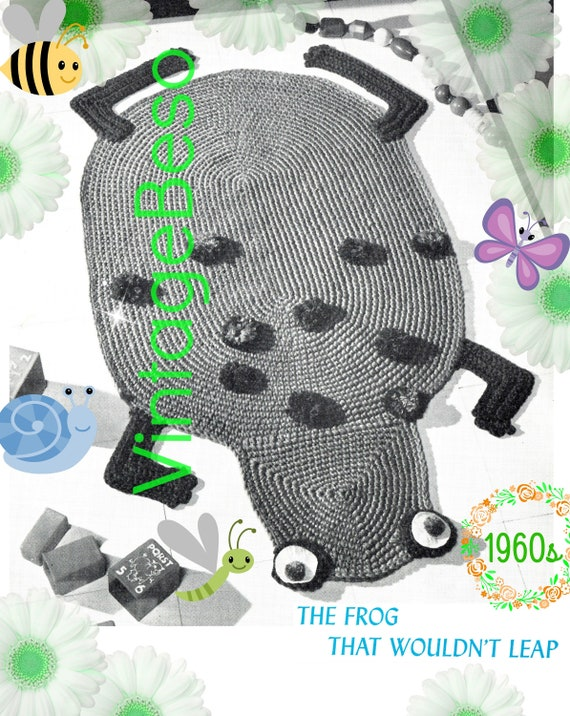 Rug Crochet Pattern • PDF • Retro 1960s Frog Rug • The Frog that Wouldn't Leap • Bathroom Mat • next to Child Room Rug