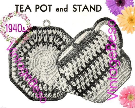 Tea Pot and Stand Potholder CROCHET Pattern • PdF Pattern • Vintage 1940s • Digital Pattern • Retro 1940s Potholder Set • Gift Hot Plate Mat