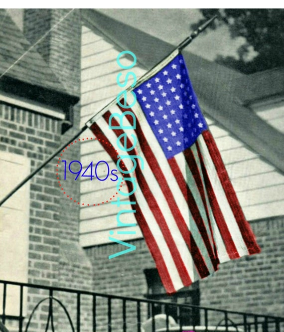 American Flag Crochet Pattern • Vintage 1940s Betsy Ross Flag • Rosie the Riveter USA Pattern • Patriot • Patriotism • Watermarked PDF Only
