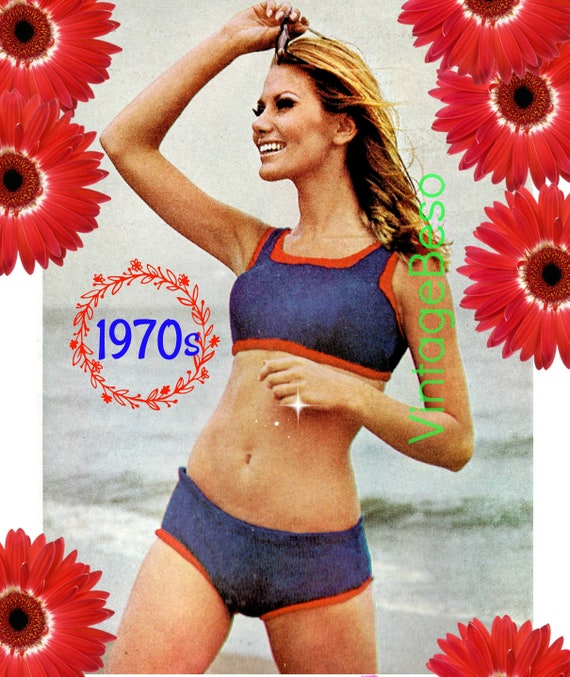 Patriotic Bikini Knitting PATTERN • Vintage Fitted Bikini • 1970s Summer Wear • Bikini Top and Bottom • 2 Piece • Instant Download • PDF