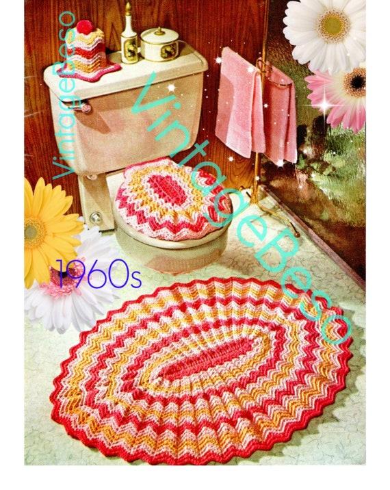 Rug Crochet Pattern • Retro 1960s Bathroom Set • Toilet Seat Cover Crochet Pattern • Tissue Topper • Ripple Bath Set • PDF Only