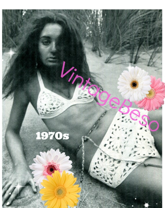 Sexy Flower Swimsuit 1970s Vintage CROCHET Pattern • Digital Pattern • PdF • Summer Necessity VintageBeso Ladies Hippie Boho Bikini Swimwear