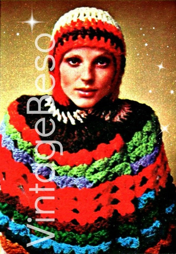 Hooded Cape CROCHET Pattern • Vintage 70s Capelet Crochet Pattern • Retro Ripple Short Cape with Hood • Vintage Beso • Watermarked PDF Only