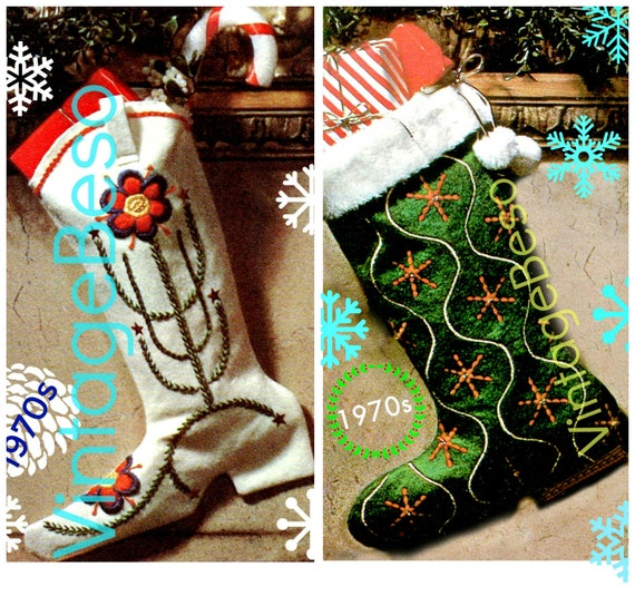 """2 Boot Stocking Pattern • Vintage 1970s Cowgirl Barrel Rider • Cowboy Boot • """"Fur"""" Topped Boot • Sewing Embroidery • Christmas Flower • PDF"""