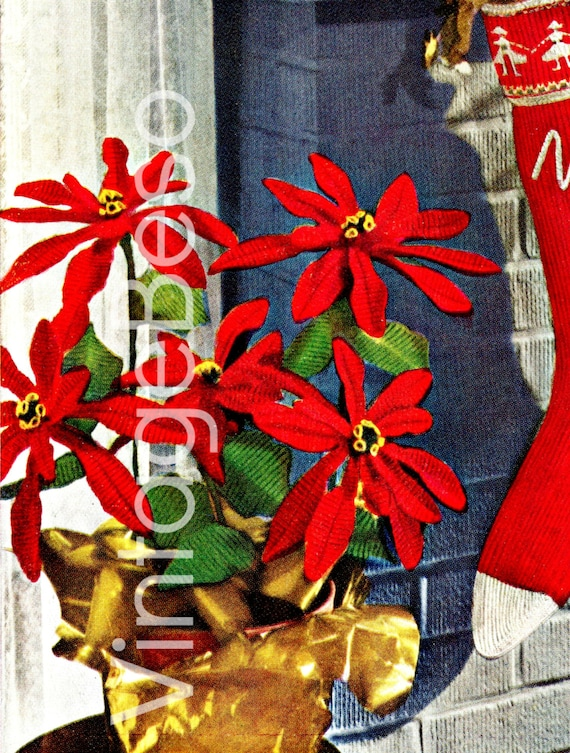 Poinsettia Crochet PATTERN • Vintage Crochet Christmas • 1950s Pattern • Poinsettia Plant Holiday Decor Gift • PDF • DIGITAL