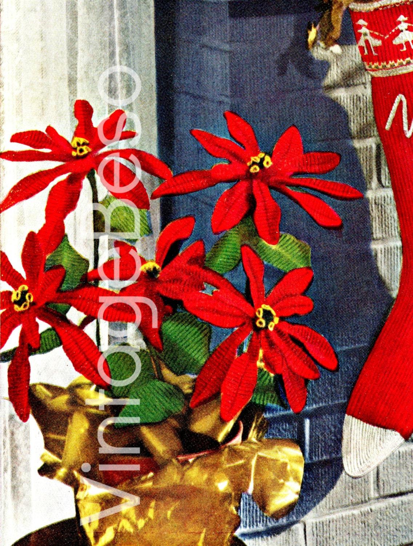 Poinsettia Crochet Pattern Vintage Crochet Christmas 1950s Etsy