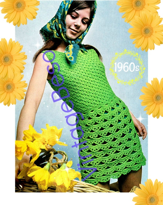 1960s Dress Crochet Pattern • Girl's Dress • Vintage • Summer Sleeveless Pattern • UK Crochet Terms Green • Watermarked PDF Only