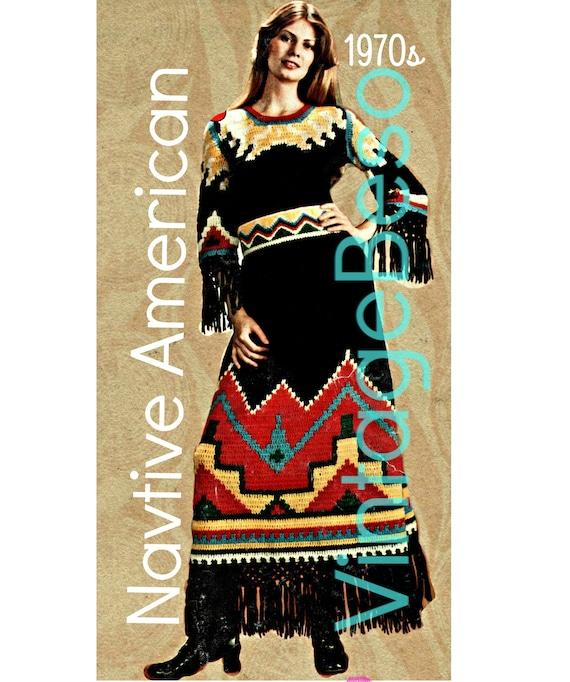 Dress Crochet Pattern • Native American Dress • Retro Top Skirt • Instant Download • PDF • Retro 1970s • Halloween Costume • Thanksgiving