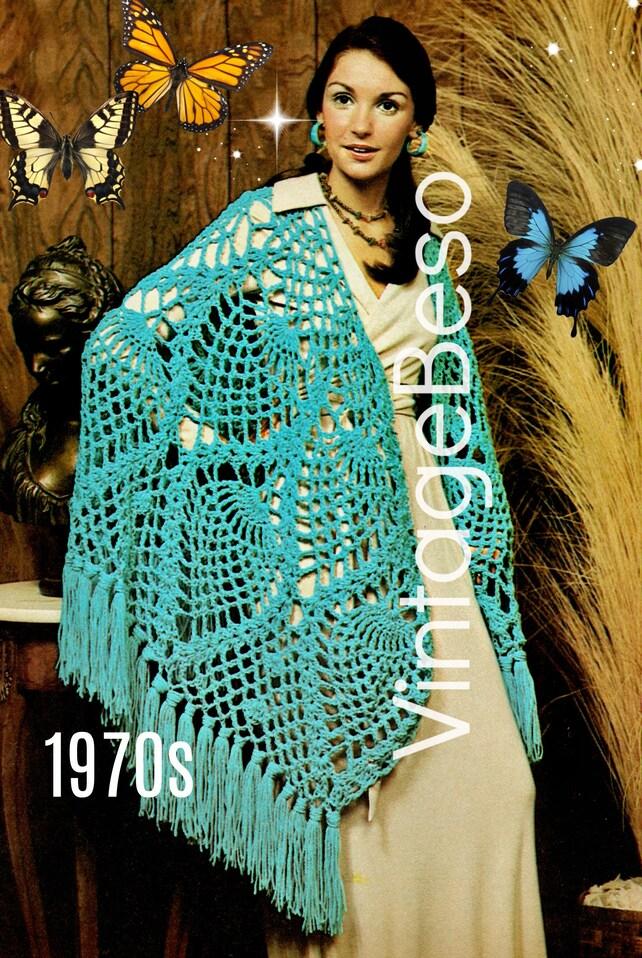 Pineapple Shawl Crochet Pattern Digital Download Pdf 70s Etsy