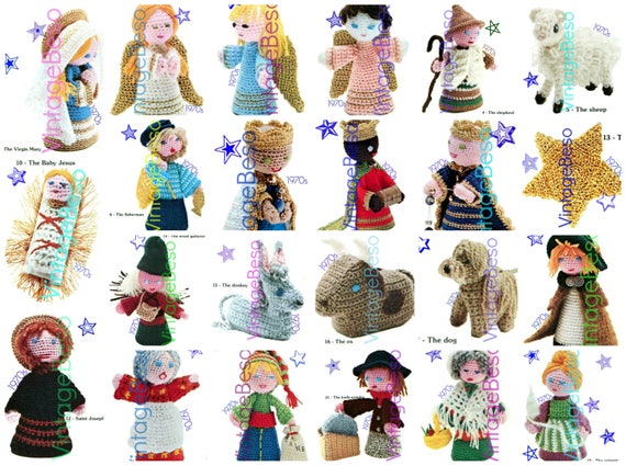 20+ Characters Nativity Crochet PATTERN Vintage 1970s Virgin Mary Baby Jesus Joseph Angels Three Kings Pattern Digital Pattern PDF