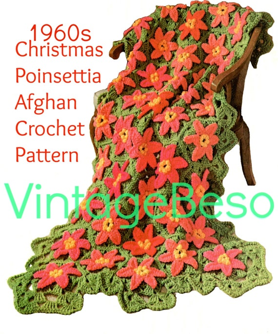 EASY Poinsettia Crochet Pattern • 60s Afghan Crochet Pattern Retro Christmas Afghan Blanket Holiday Cover Xmas Throw • Watermarked PDF Only