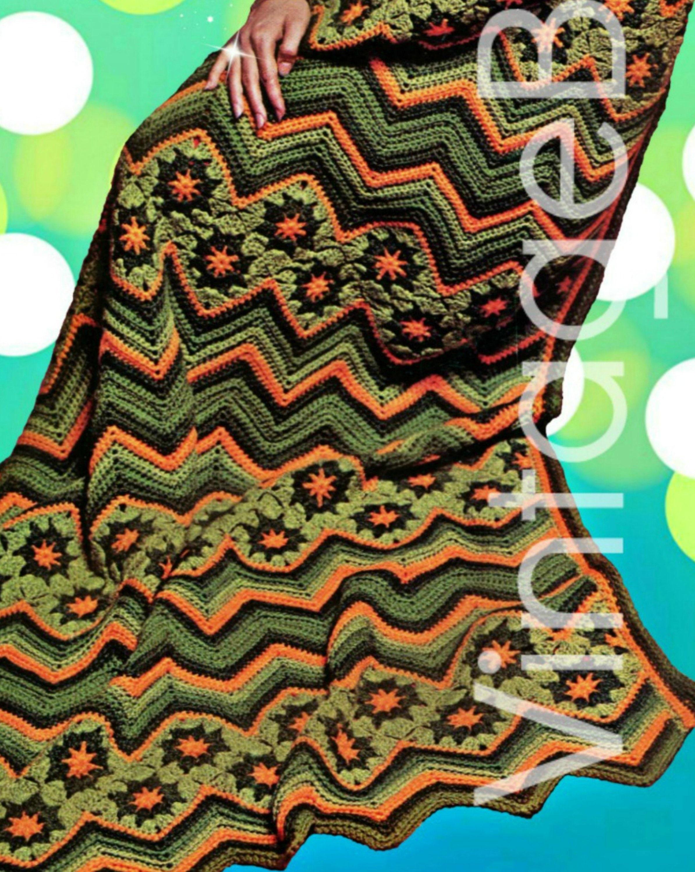 Ripple Afghan Instant Download Vintage Crochet Pattern 1970s