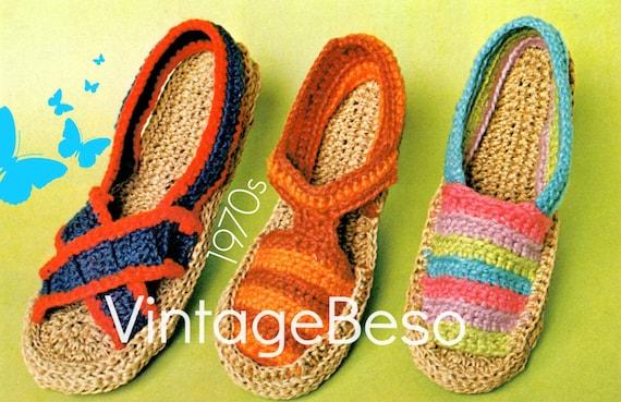 Espadrilles Crochet Pattern • Retro 1970s Shoes Crochet Pattern • Slippers Vintage Crochet Pattern • Watermarked PDF Only