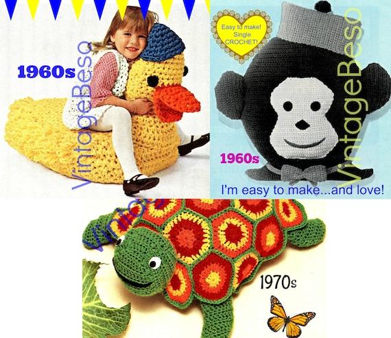 3 CROCHET PATTERNS • Vintage Pattern • Turtle Toy • Monkey Pillow • Duck Chair Stuffed Zoo Animal Nursery Kids Room • Watermarked PDF Only