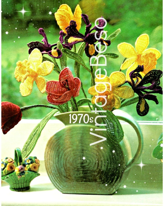 Bouquet FLOWERS Crochet Pattern • Digital Pattern • Vintage 70s Vase Wired Flowers Tulip Daffodil Iris Petals Leaves • INStEAD DOWNlOAD PdF