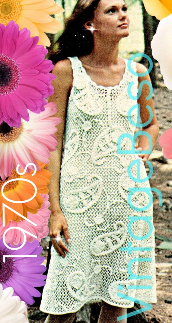 INSTANT DOWNlOAD • PdF Pattern • Crochet PATTERN Vintage Paisley Patterned Dress 70s Pattern Irish Lace Ladies Summer Wear Bohemian Clothing