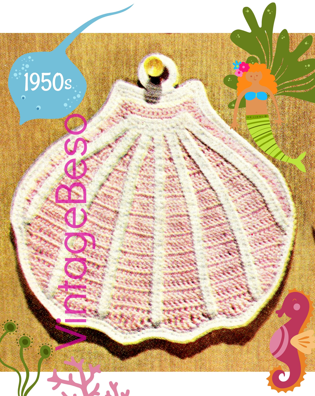 Digital Pattern Seashell Crochet Pattern Vintage Mad Men Era