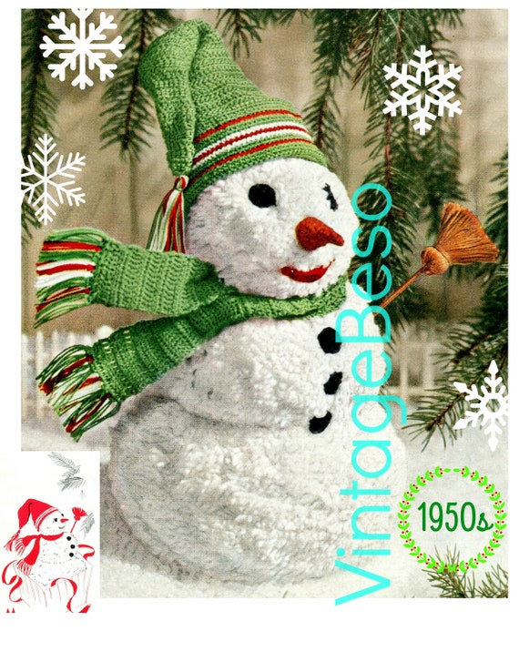 Mr. Snowman Crochet Pattern • Vintage Crochet Christmas • Retro 1950s • Snowman Pompom with Crochet Hat Scarf • Snowman Crochet Pattern