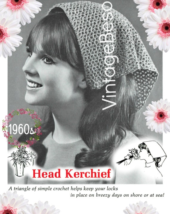 Head Scarf Crochet Pattern • 1960s Vintage Hippie Pattern • Head Kerchief • Scarf • PDF • Retro Fun Hair • Watermarked PDF Only