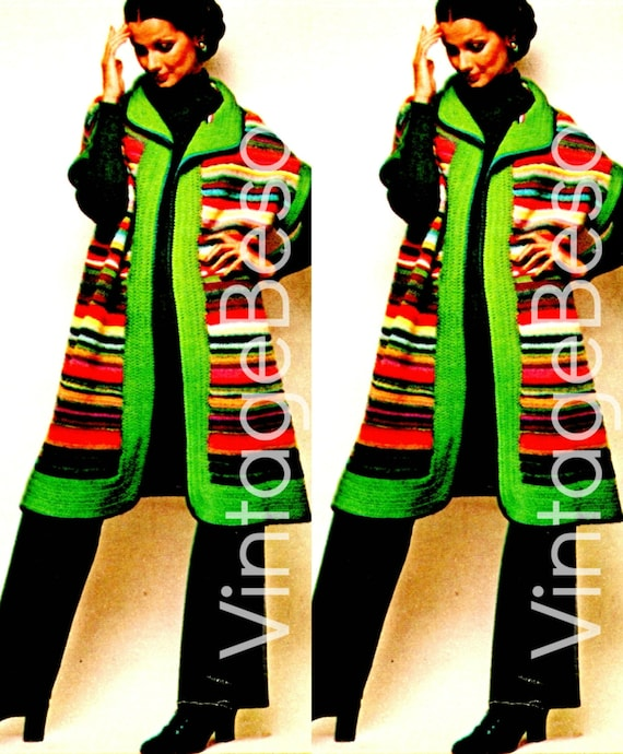 Coat CROCHeT Pattern • INSTANT DOWNLOAD • PDF Pattern • Vintage 1970s Retro Striped Jacket Crochet Pattern Colorful & Fabulous Just Like You