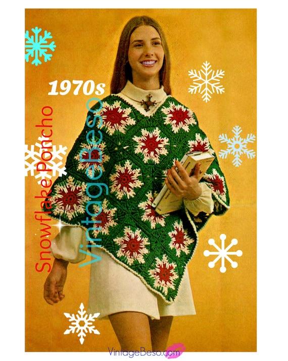 Christmas Crochet • Poncho Crochet Pattern • Vintage 1970s • Christmas Poncho • Xmas • Snowflake Crochet Pattern • Watermarked PDF Only