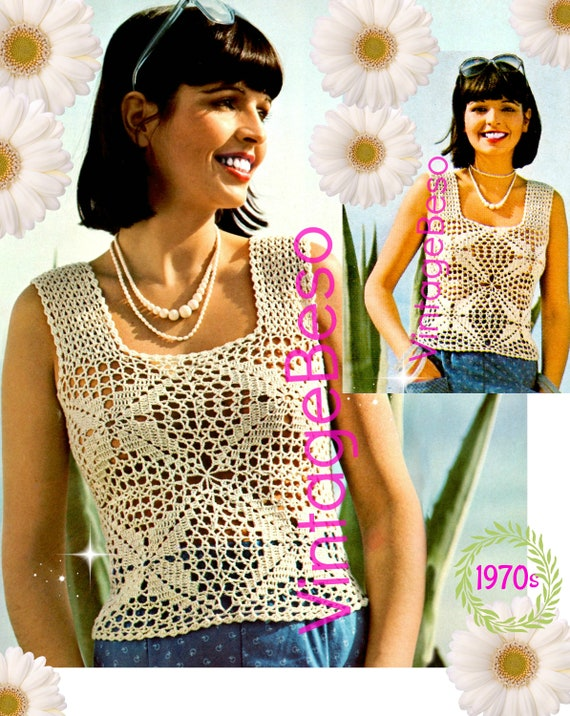 Top Crochet Pattern • 1970s Tank Top Crochet Pattern • Lacy Summer • Lace Camisole Design • Beach Top • Summer Wear • INSTANT Download • PdF