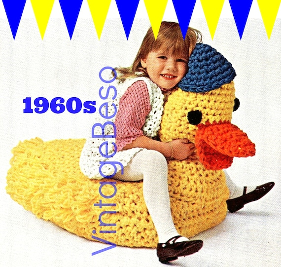 Duck CROCHET Pattern • 1960s Childrens Duck Chair for watching TV Stuffed Animal Pouffe Nursery Playroom Bedroom • Watermarked PDF Only