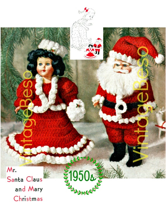 Christmas CROCHET Pattern • Vintage 1950s Crochet Pattern • Mr Santa Claus and Mary Christmas Crochet Pattern • PDF • Digital Download