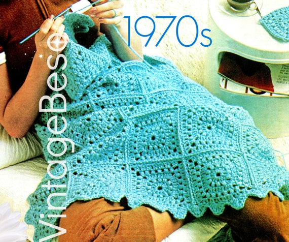 Easy Granny Square Afghan • Vintage 1970s Boho Home Decor • Afghan CROCHET Pattern • Blanket • Coverlet • Watermarked PDF Only