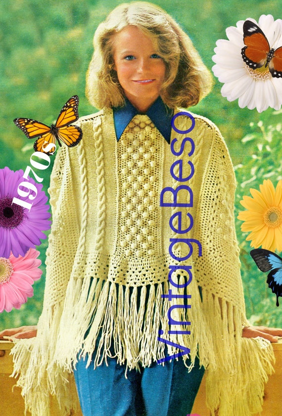 Ladies PONCHO Pattern • PdF Pattern • for experienced KNITTERs and CROCHETers OnLY • Poncho is feminine and lovely • Vintage 1970s
