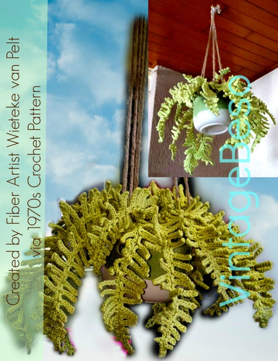 Fern Plant Crochet PATTERN • Vintage 70s Hanging Fern Plant • Artificial Plant • House Plants • Boho Home Decor • Apartment Boho • PDF Only