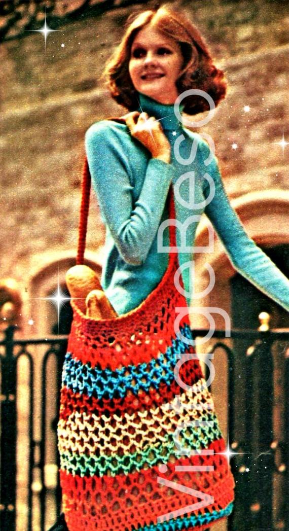 Stretchy Tote Bag Pattern 1970s Crochet Pattern • Instant Download • PDF • EASY Mesh Handbag Crochet Shopping Net Recycling Grocery Bag