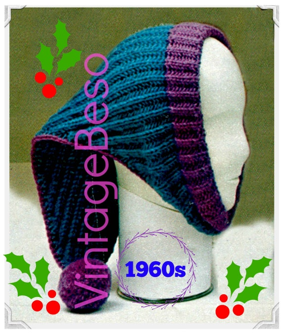 PDF PATTERN • Open Ended Cap KNITTING Pattern • Stocking Cap • Christmas Knitting • Winter Wear • 1960s Vintage Pattern • Feminine and Warm