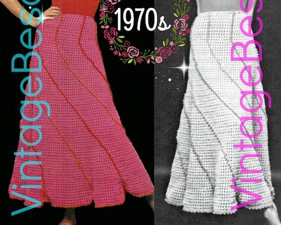SKIRT Crochet Pattern • Ladies Spiraling Swirl Skirt • 70s Vintage • Feminine • Retro Long Skirt Unique Swirl Effect • Watermarked PDF Only