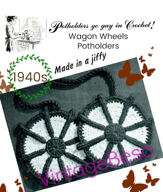 Wagon Wheels Potholder Crochet Pattern •  Vintage 1940s Crochet Pattern • Watermarked PDF Only