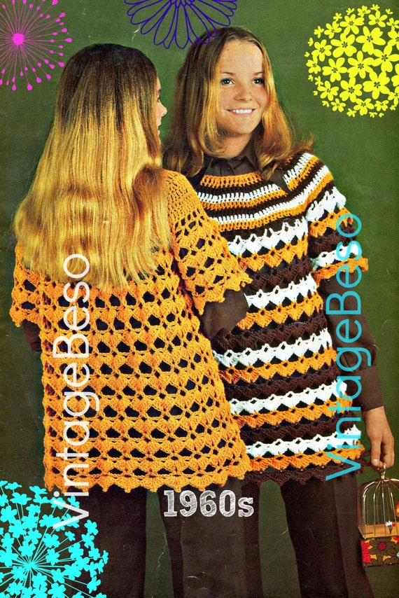 EASY Cover Up Crochet Pattern Retro 1960s Sweater Crochet Pattern Ladies Stripe Hippie Top Crochet Pattern PDF Vintage Beso Digital Download