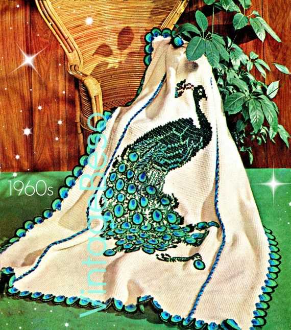 INSTANT DOWNLOAD The Peacock Afghan Crochet Pattern 1960s Vintage Afghan Stitch then Embroidered Bird Fowl Fiber Art • Watermarked PDF Only