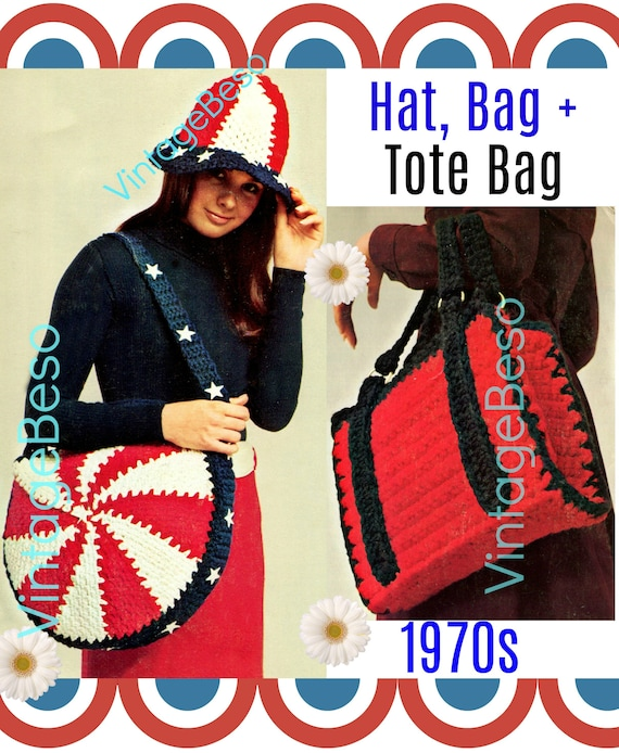 3 Patterns • Patriotic 1970s Vintage Crochet Pattern • Hat Cap Bag Purse Tote Briefcase Crochet • Great for Beginners • Watermarked PDF Only