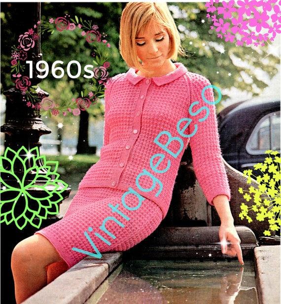 Ladies Dress Suit • 1960s KNITTING Pattern • Jacket Top Blouse Skirt • Business or Date • Mod Modern Retro Vintage • Watermarked PDF Only