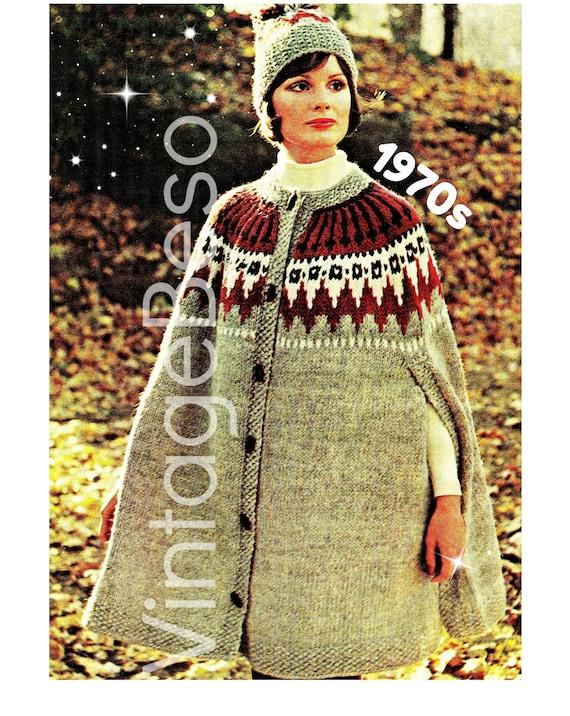 Cape Knitting Pattern + Hat Pattern • Retro 1970s Cap Knitting Pattern • Buttoned Vintage Boho Cape Jacket Boho Instant Download PDF Pattern