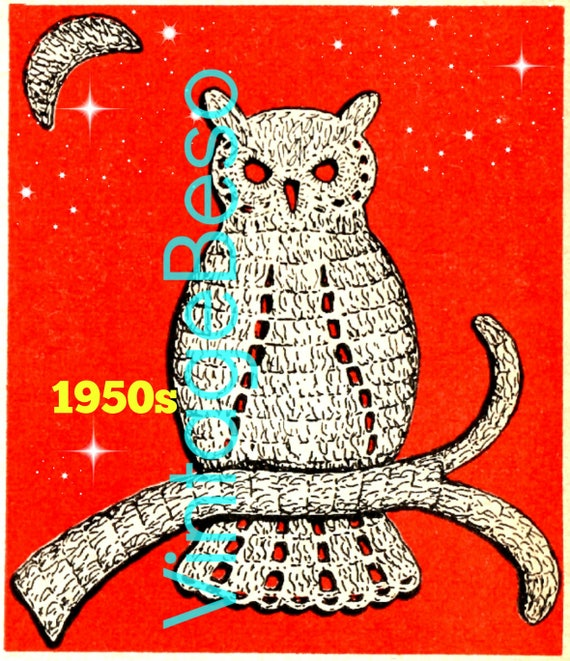 OWL CROCHET Pttern • 1950s Owl Applique Crochet Pattern • Vintage Bird Applique • Retro Motif • Watermarked PDF Only