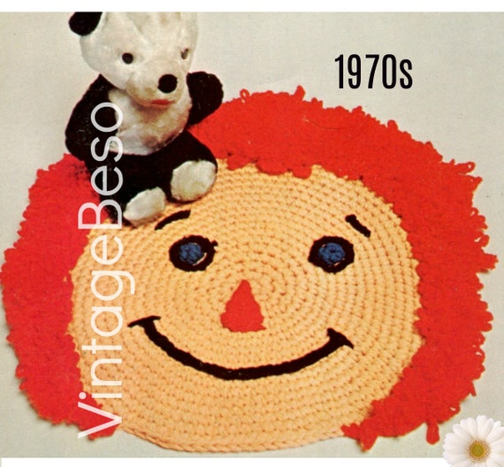 Happy Face RUG CROCHET Pattern Retro 1970s Raggedy Ann Crochet Pattern beginner crochet kids room area pet rug Instant Download PDF Pattern