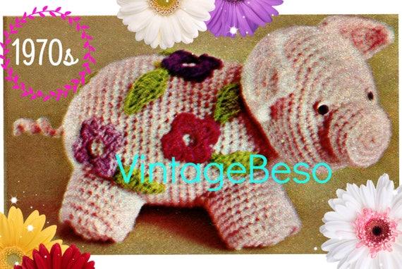 DIGITAL PATTERN • PIG Toy Crochet Pattern • Fun Squeezable Porky Toy • Crochet Flowers then Appliqued • 1970s Vintage Pattern • PdF Pattern