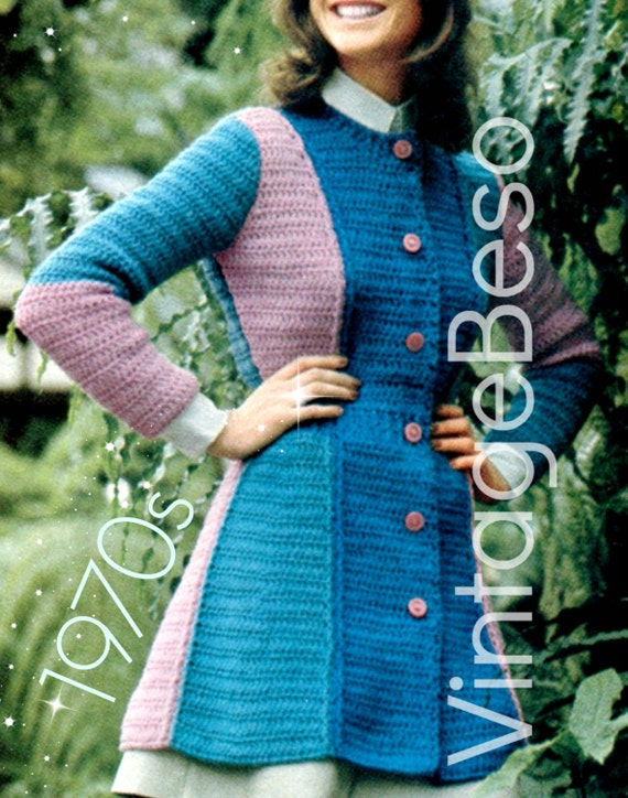 Coat Crochet Pattern • 1970s Flare Coat Sweater Crochet Pattern • Panel Tri-Color 7/8th Coat • Bohemian Clothing • PDF Only • Feminine Fit