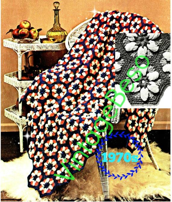 Afghan Crochet Pattern • Vintage 70s Daisy Crochet Pattern • Patriotic • 4th of July • Flower Afghan Crochet Pattern • Watermarked PDF Only