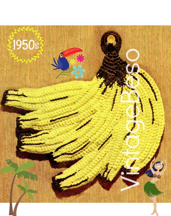 Digital Pattern • Potholder Crochet Pattern • Bunch of Bananas • Vintage Mad Men era 1950s • Banana • Healthy Eating • Fruit • PDF