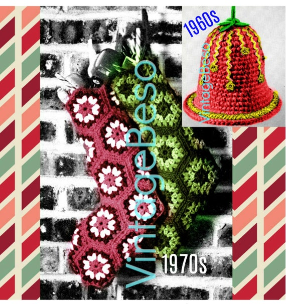 Instant Download • Christmas Stocking Crochet Pattern + Bell Crochet Pattern • Vintage 1970s + Retro 1960s Xmas Bell Ornament PDF