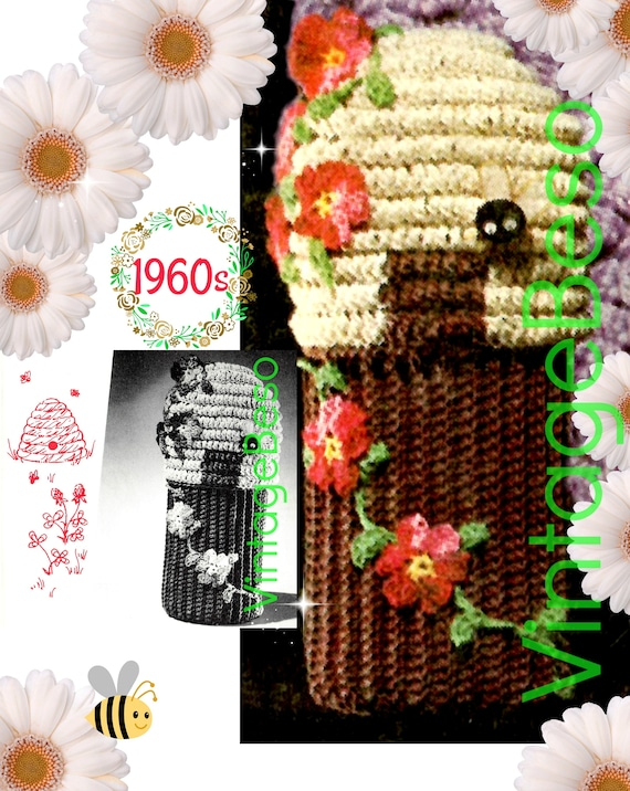 Bottle Cover Crochet Pattern • Vintage 1960s Syrup Bottle Cover Crochet Pattern • Flowers Bees Vines Leaves  • USA Terms • INSTANT DOWNLOAD